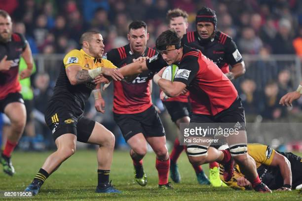 Quinten Strange of the Crusaders charges forward during the round 12 Super Rugby match between the Crusaders and the Hurricanes at AMI Stadium on May...