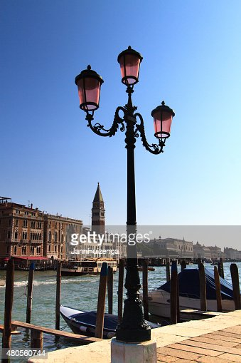 Quintessential Venice: Grand Canal, St Mark's Bell Tower, Pink Lamp : Stock Photo