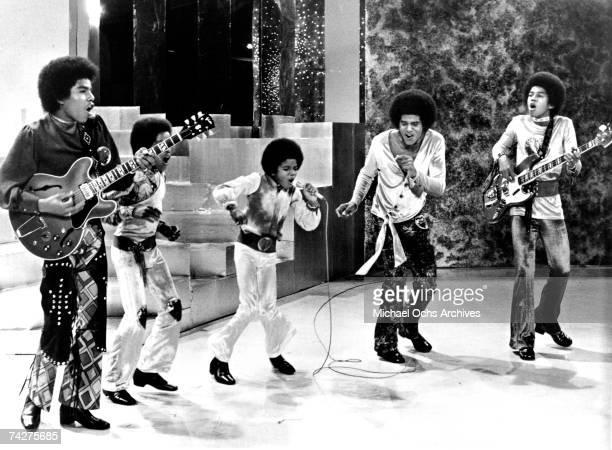 B quintet 'Jackson 5' perform on a TV show in circa 1969 Tito Jackson Marlon Jackson Michael Jackson Jackie Jackson Jermaine Jackson