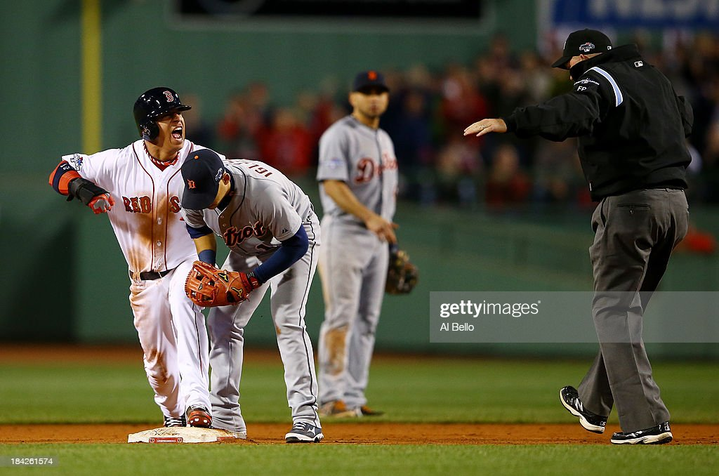 <a gi-track='captionPersonalityLinkClicked' href=/galleries/search?phrase=Quintin+Berry&family=editorial&specificpeople=6772125 ng-click='$event.stopPropagation()'>Quintin Berry</a> #50 of the Boston Red Sox reacts after stealing second base in the ninth inning against the Detroit Tigers Game One of the American League Championship Series at Fenway Park on October 12, 2013 in Boston, Massachusetts.
