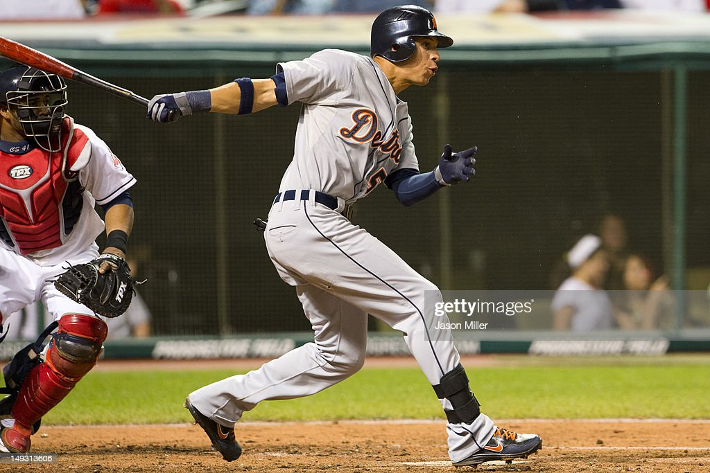 Quintin Berry #52 of the Detroit Tigers hits a single during the seventh inning against the Cleveland Indians at Progressive Field on July 26, 2012 in Cleveland, Ohio.