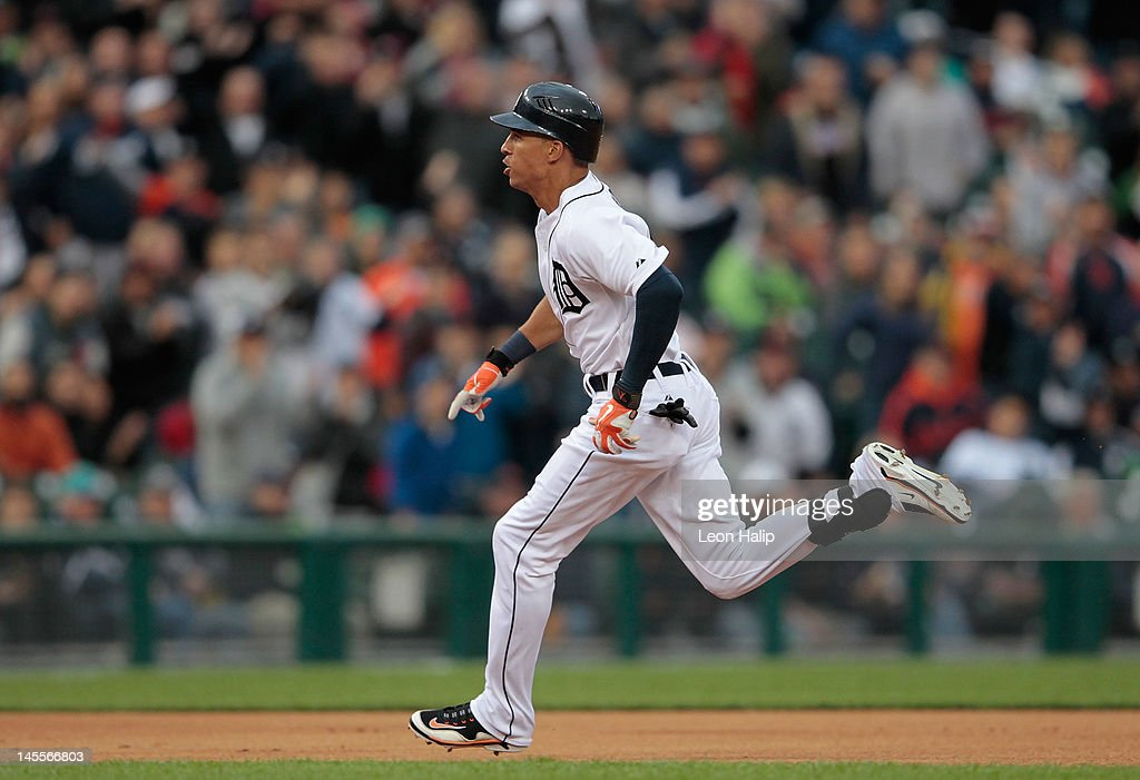 Quintin Berry #52 of the Detroit Tigers rounds second base after hitting a triple in the first inning of the game against the New York Yankees at Comerica Park on June 1, 2012 in Detroit, Michigan. The Yankees defeated the Tigers 9-4.