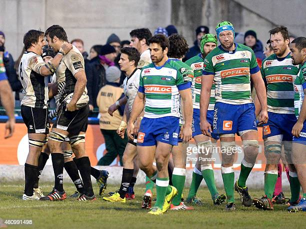 Quintin Geldenhuys of Zebre Parma celebrates scoring a try during the Guinness Pro 12 match between Benetton Treviso and Zebre Parma at Stadio...