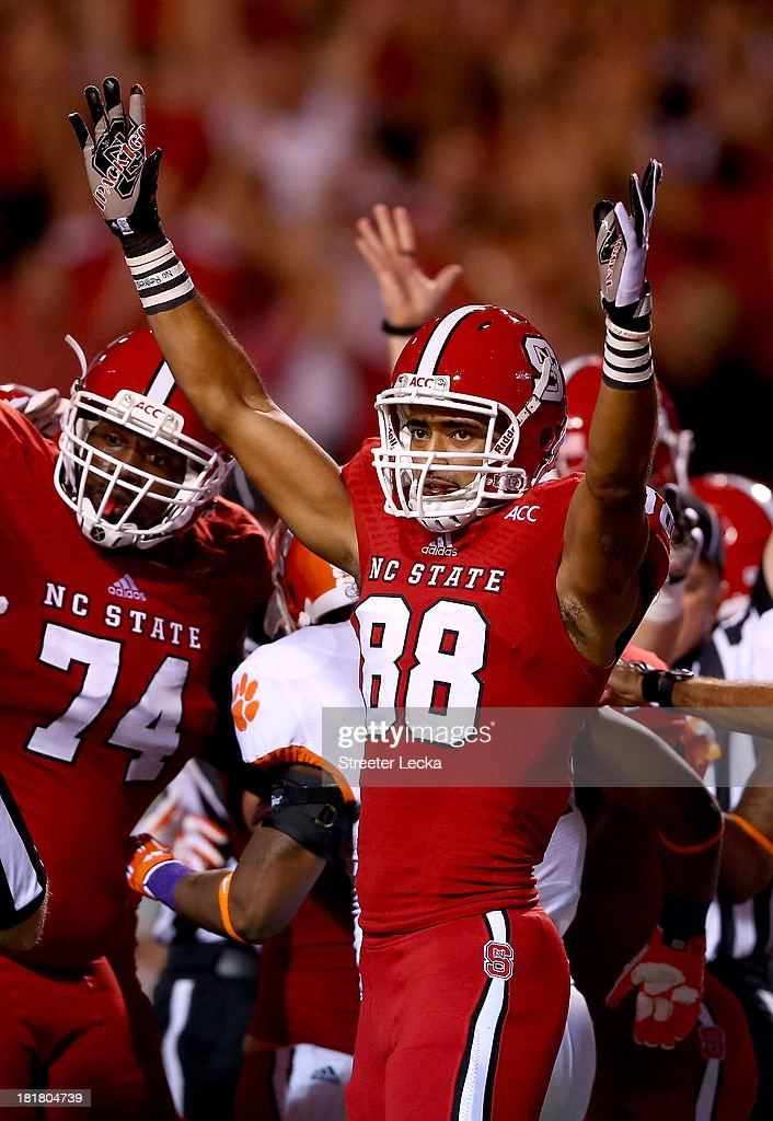 Quintin Payton #88 of the North Carolina State Wolfpack during their game at Carter-Finley Stadium on September 19, 2013 in Raleigh, North Carolina.