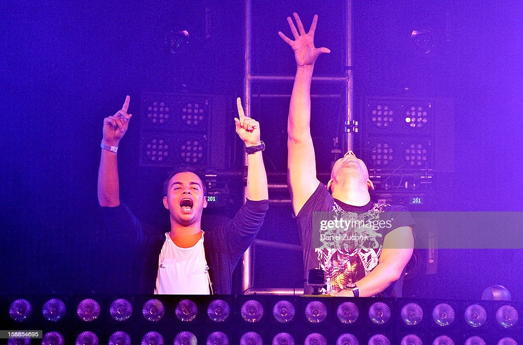 DJ Quintino and Afrojack perform at Jacked New Year's Eve 2013 at Pier 94 on December 31, 2012 in New York City.