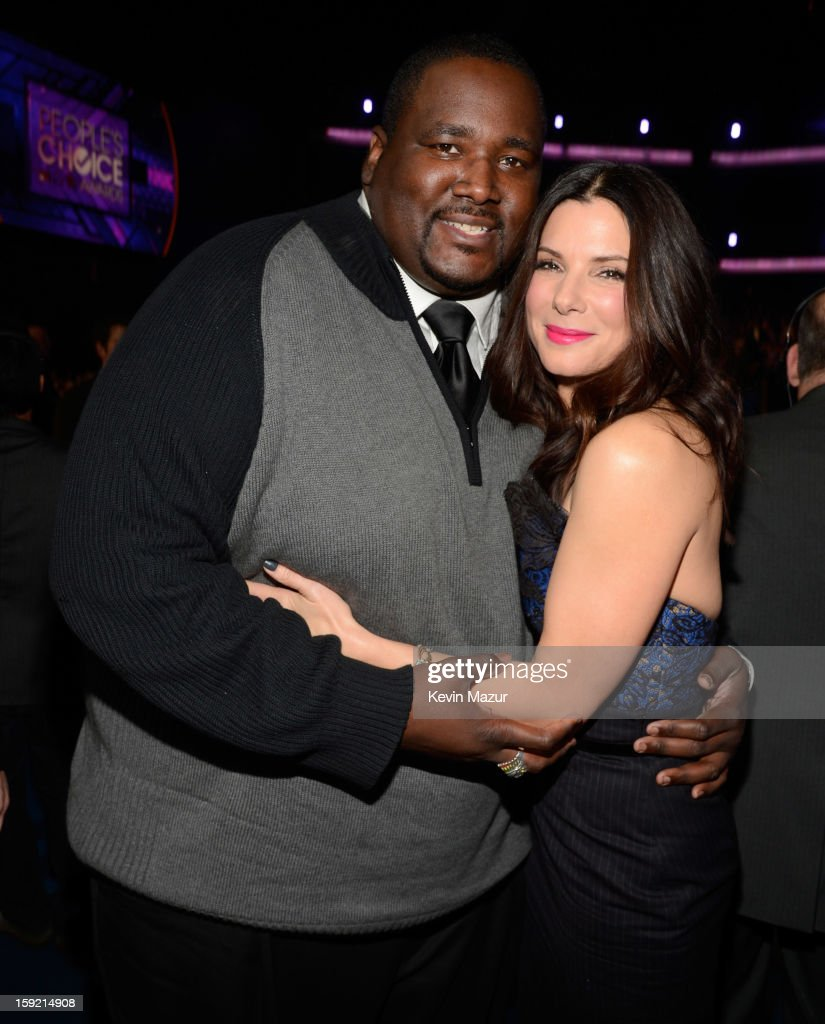 Quinton Aaron and Sandra Bullock in the audience during 2013 People's Choice Awards at Nokia Theatre L.A. Live on January 9, 2013 in Los Angeles, California.