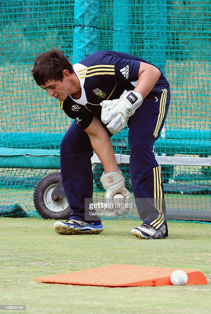 Quinton de Kock attends the South African national cricket team nets session and press conference at Claremont Cricket Club on January 17, 2013 in Cape Town, South Africa.