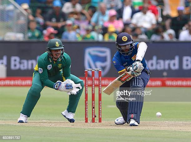 Quinton de Kock of South Africa and Kusal Mendis of Sri Lanka during the 1st One Day International match between South Africa and Sri Lanka at St...