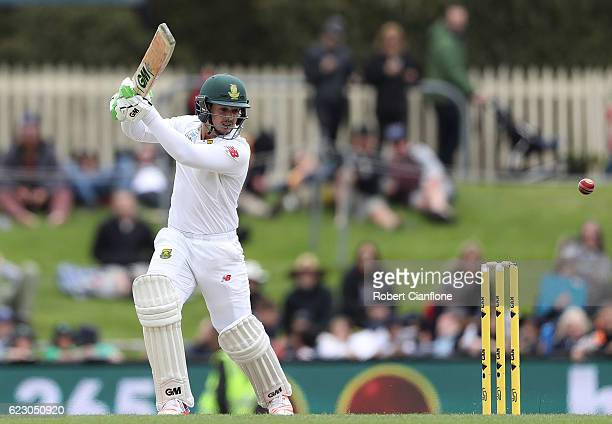 Quinton de Kock of South Africa bats during day three of the Second Test match between Australia and South Africa at Blundstone Arena on November 14...