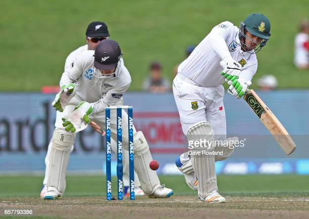 Quinton de Kock of South Africa bats during day two of the Test match between New Zealand and South Africa at Seddon Park on March 26 2017 in...