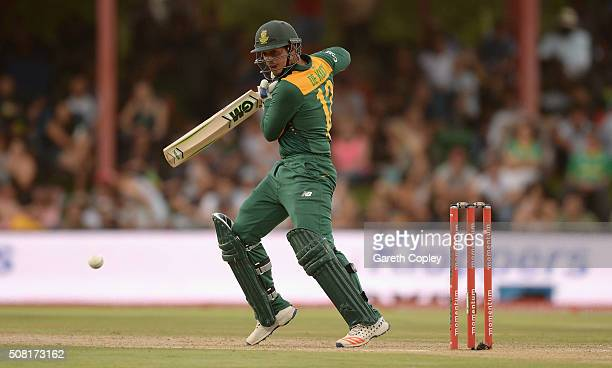 Quinton de Kock of South Africa bats during the 1st Momentum ODI match between South Africa and England at Mangaung Oval on February 3 2016 in...
