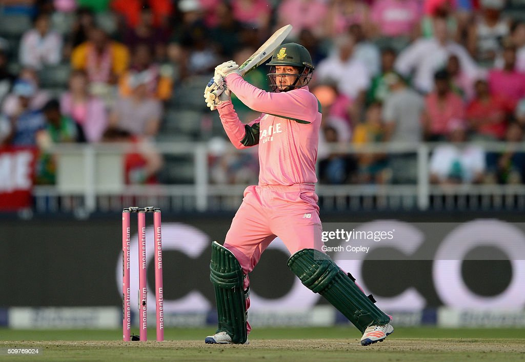 <a gi-track='captionPersonalityLinkClicked' href=/galleries/search?phrase=Quinton+de+Kock&family=editorial&specificpeople=7970706 ng-click='$event.stopPropagation()'>Quinton de Kock</a> of South Africa bats during the 4th Momentum ODI between South Africa and England at Bidvest Wanderers Stadium on February 12, 2016 in Johannesburg, South Africa.