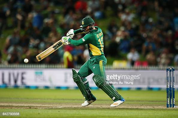 Quinton de Kock of South Africa bats during the First One Day International match between New Zealand and South Africa at Seddon Park on February 19...