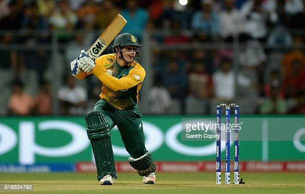 Quinton de Kock of South Africa bats during the ICC World Twenty20 India 2016 Super 10s Group 1 match between South Africa and England at Wankhede...