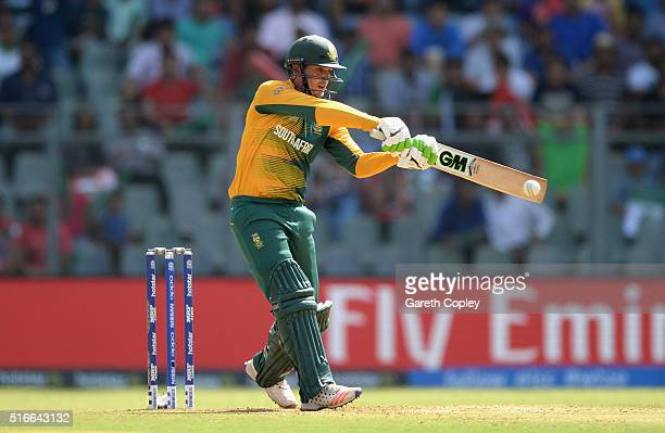 Quinton de Kock of South Africa bats during the ICC World Twenty20 India 2016 Super 10s Group 1 match between South Africa and Afghanistan at...