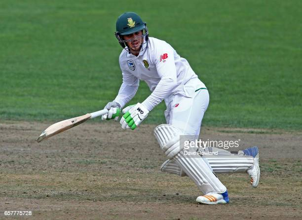 Quinton de Kock of South Africa batting during day two of the Test match between New Zealand and South Africa at Seddon Park on March 26 2017 in...