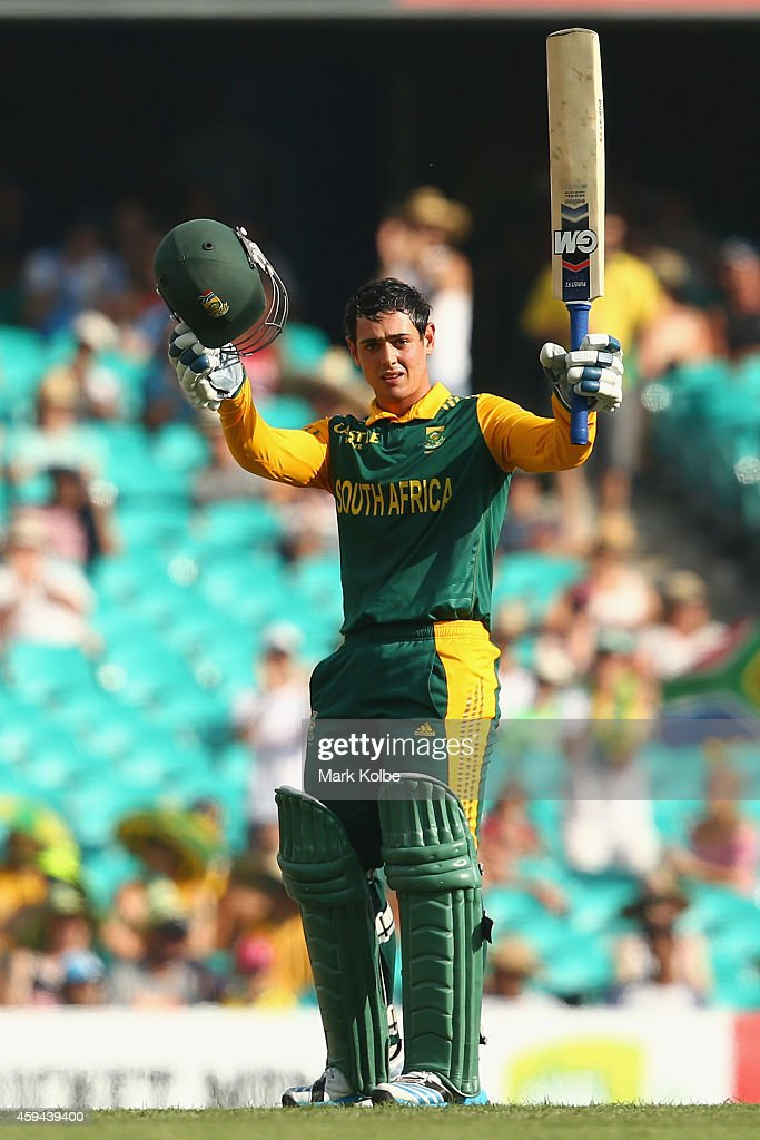 Quinton de Kock of South Africa celebrates scoring his century during game five of the One Day International series between Australia and South...