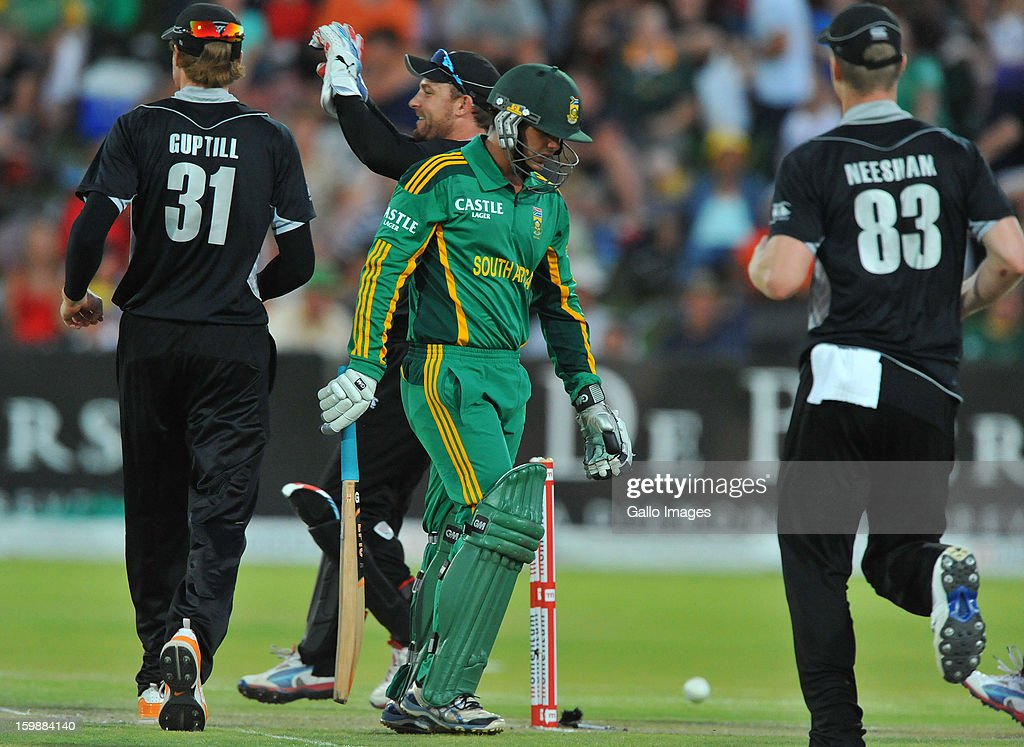 Quinton de Kock of South Africa dismissed for 25 runs during the 2nd One Day International match between South Africa and New Zealand at De Beers Diamond Oval on January 22, 2013 in Kimberley, South Africa.