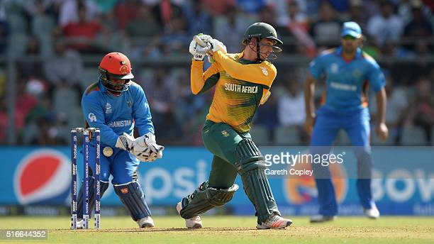 Quinton de Kock of South Africa is caught behind by Afghanistan wicketkeeper Mohammad Shahzad during the ICC World Twenty20 India 2016 Super 10s...