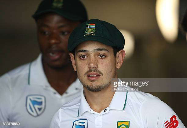 Quinton de Kock of South Africa looks on prior to day one of the Second Test match between Australia and South Africa at Blundstone Arena on November...