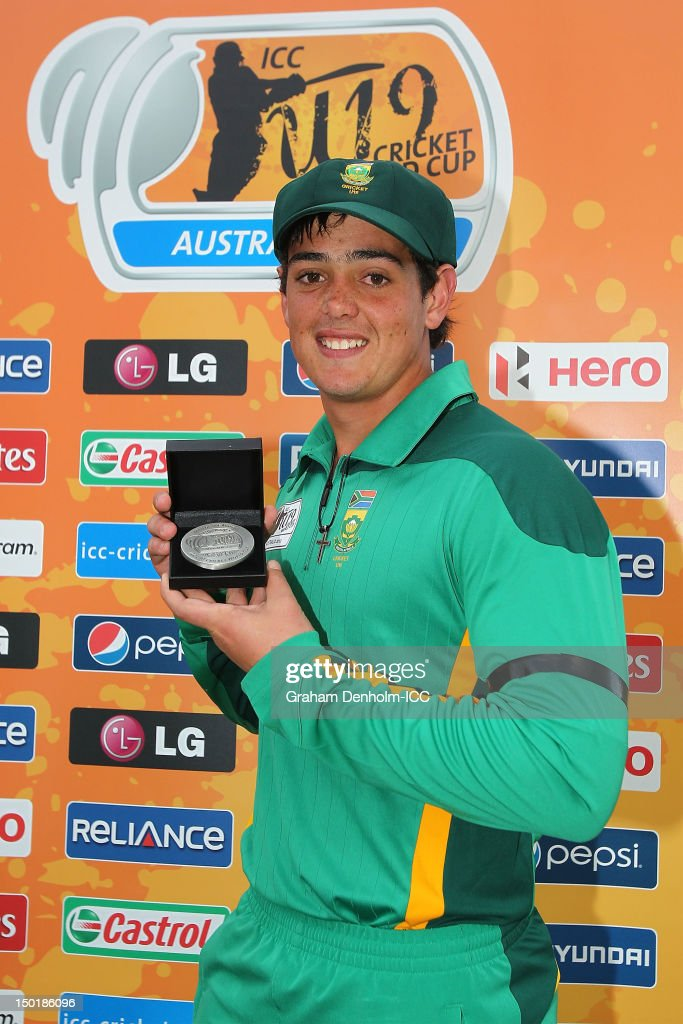 Quinton de Kock of South Africa poses with his medal after being awarded Man of the Match in the ICC U19 Cricket World Cup 2012 match between South Africa and Bangladesh at Allan Border Field on August 12, 2012 in Brisbane, Australia.