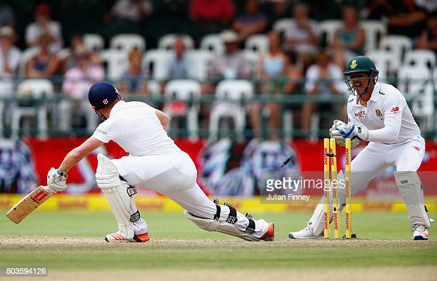 Quinton de Kock of South Africa was unsuccessfull in stumping out Jonny Bairstow of England during day five of the 2nd Test at Newlands Stadium on...