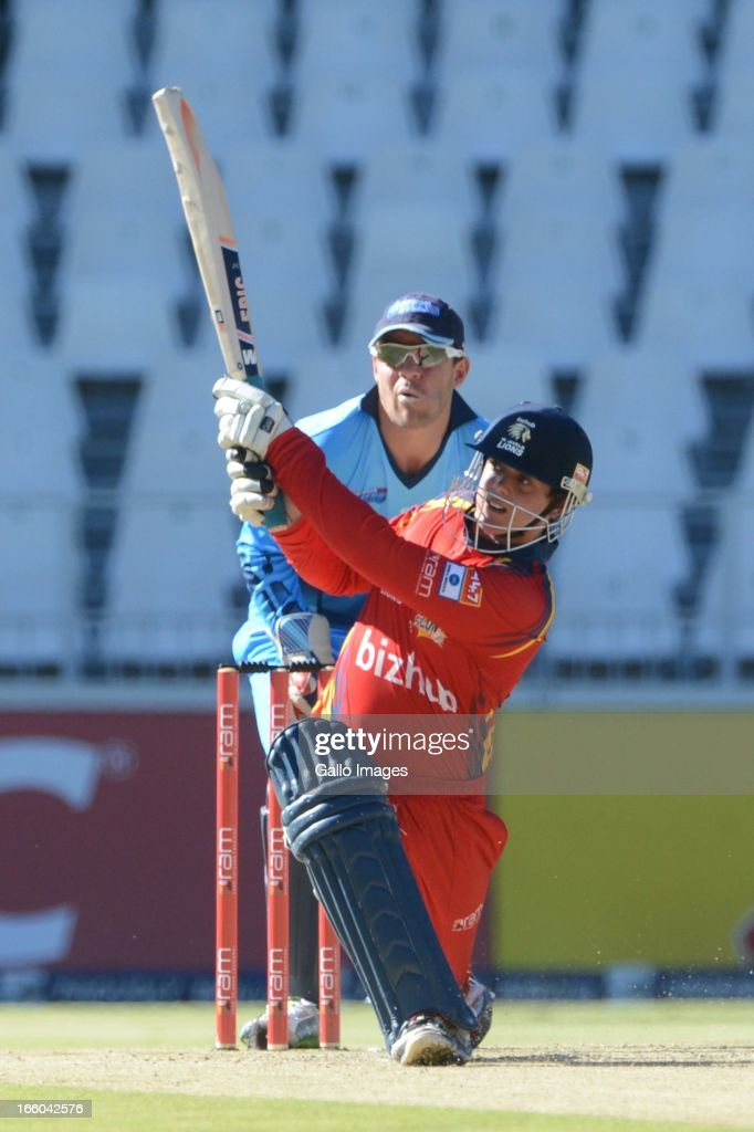 Quinton de Kock of the Bizhub Highveld Lions hits out during the 2013 RAM Slam T20 Challenge Final between Bizhub Highveld Lions and Nashua Titans at Bidvets Wanderers Stadium on April 07, 2013 in Johannesburg, South Africa.