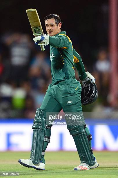 Quinton de Kock of the Proteas celebrates his 100 runs during the 1st Momentum ODI Series match between South Africa and England at Mangaung Oval on...
