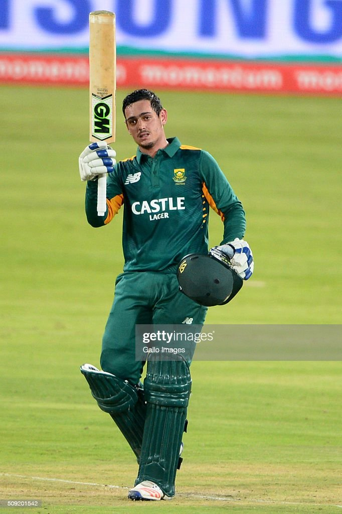 Quinton de Kock of the Proteas celebrates his 100 runs during the 3rd Momentum ODI Series match between South Africa and England at SuperSport Park on February 09, 2016 in Pretoria, South Africa.