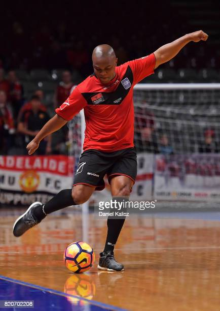 Quinton Fortune of Manchester United strikes the ball during the match between the Liverpool Legend and the Manchester United Legends at Titanium...