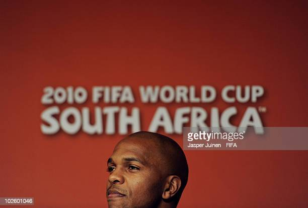 Quinton Fortune of South Africa listens to questions asked by the media during a 1GOAL education for all media briefing at the Soccer City stadium on...