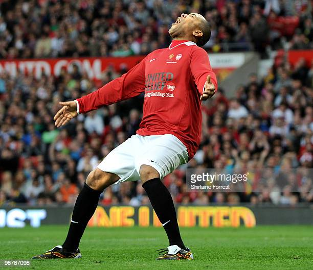 Quinton Fortune plays football at United For Relief The Big Red Family Day Out at Old Trafford on May 1 2010 in Manchester England