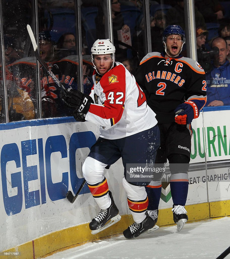 Quinton Howden #42 of the Florida Panthers skates against the New York Islanders at the Nassau Veterans Memorial Coliseum on March 24, 2013 in Uniondale, New York.