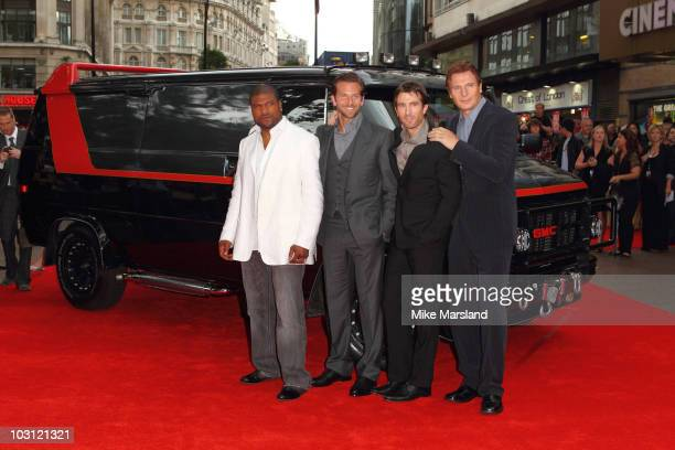 Quinton Jackson Bradley Cooper Sharlto Copley and Liam Neeson attend the UK Film Premiere of 'The ATeam' at Empire Leicester Square on July 27 2010...
