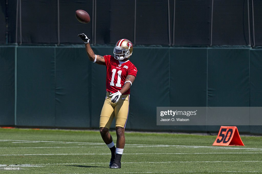 Quinton Patton #11 of the San Francisco 49ers throws a football during the San Francisco 49ers rookie minicamp at their training facility on May 10, 2013 in Santa Clara, California. Photo by Jason O. Watson/Getty Images)