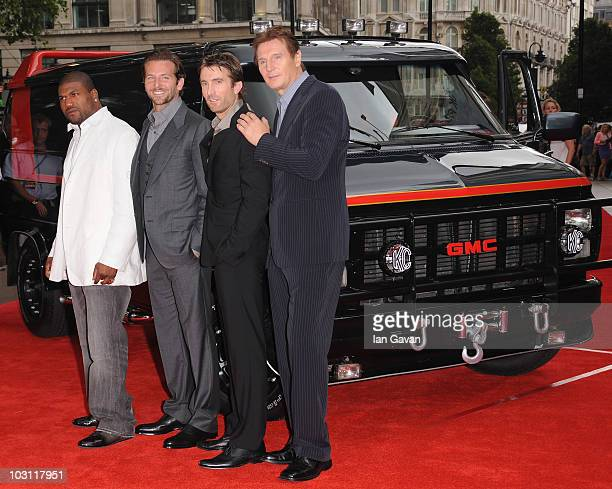 Quinton 'Rampage' Jackson Bradley Cooper Sharlto Copley and Liam Neeson attend the UK Film Premiere of 'The ATeam' at Empire Leicester Square on July...