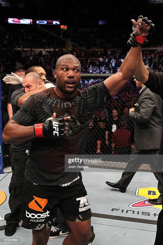 Quinton 'Rampage' Jackson reacts after he was declared the winner by minimal decision against Lyoto 'The Dragon' Machida during their Light Heavyweight bout part of UFC 123 at the Palace of Auburn Hills on November 20, 2010 in Auburn Hills, Michigan.
