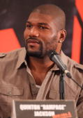 Quinton 'Rampage' Jackson speaks during 'The ATeam' press conference at the Four Seasons Hotel on June 1 2010 in Mexico City Mexico