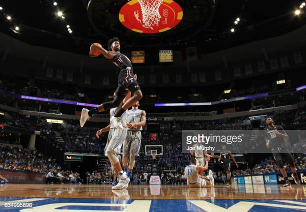 Quinton Rose of the Temple Owls goes up for a dunk as a foul was called against the Memphis Tigers on February 12 2017 at FedExForum in Memphis...