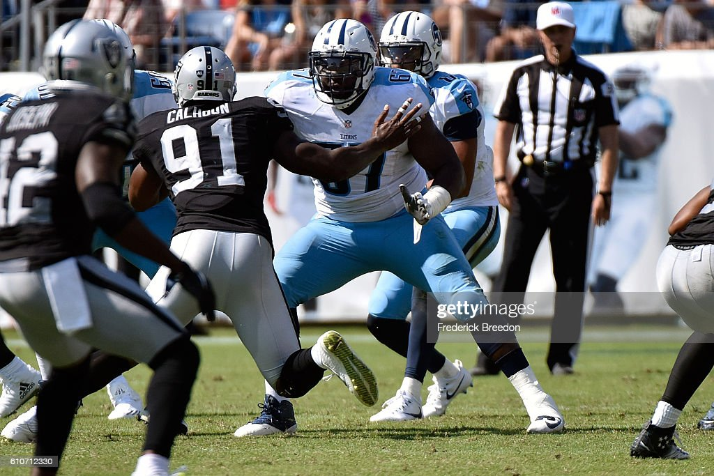 ... Quinton Spain 67 of the Tennessee Titans plays against the Oakland  Raiders at Nissan Stadium ... 7d840172b6e