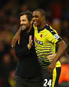 Quique Flores manager of Watford and Odion Ighalo of Watford celebrate victory after the Barclays Premier League match between Watford and Liverpool...