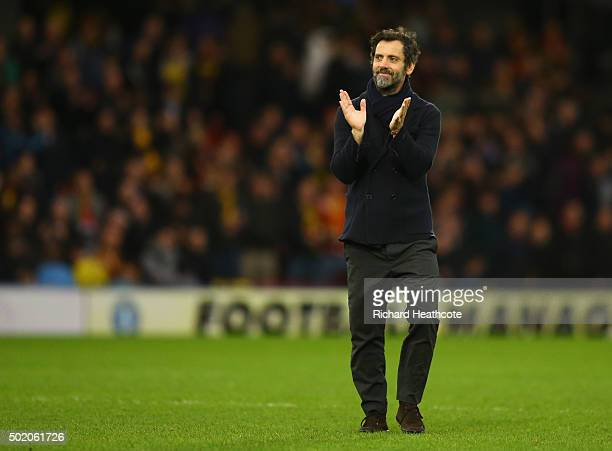 Quique Flores manager of Watford celebrates victory after the Barclays Premier League match between Watford and Liverpool at Vicarage Road on...