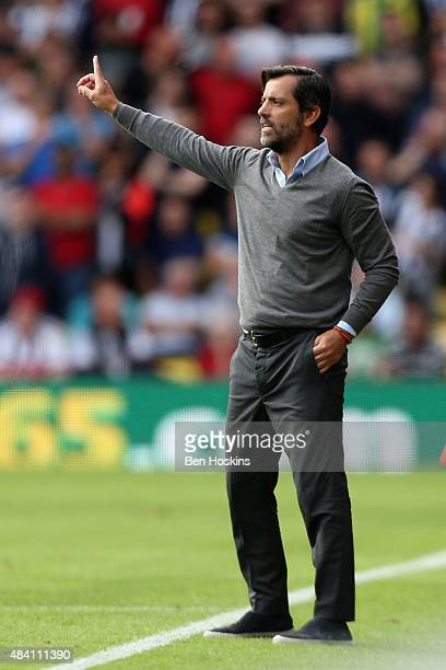 Quique Flores manager of Watford gestures during the Barclays Premier League match between Watford and West Bromwich Albion at Vicarage Road on...