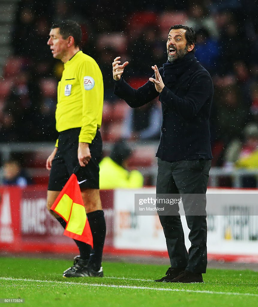 Quique Flores manager of Watford gestures during the Barclays Premier League match between Sunderland and Watford at The Stadium of Light on December 12, 2015 in Sunderland, England.