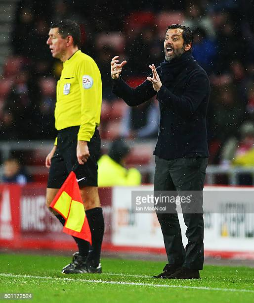 Quique Flores manager of Watford gestures during the Barclays Premier League match between Sunderland and Watford at The Stadium of Light on December...