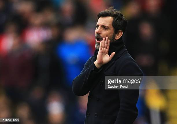 Quique Flores manager of Watford gestures during the Barclays Premier League match between Watford and Stoke City at Vicarage Road on March 19 2016...