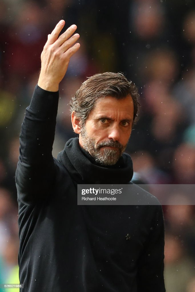 Quique Flores manager of Watford gestures during the Barclays Premier League match between Watford and Aston Villa at Vicarage Road on April 30, 2016 in Watford, England.