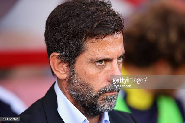 Quique Flores manager of Watford looks on before the Barclays Premier League match between AFC Bournemouth and Watford at Vitality Stadium on October...