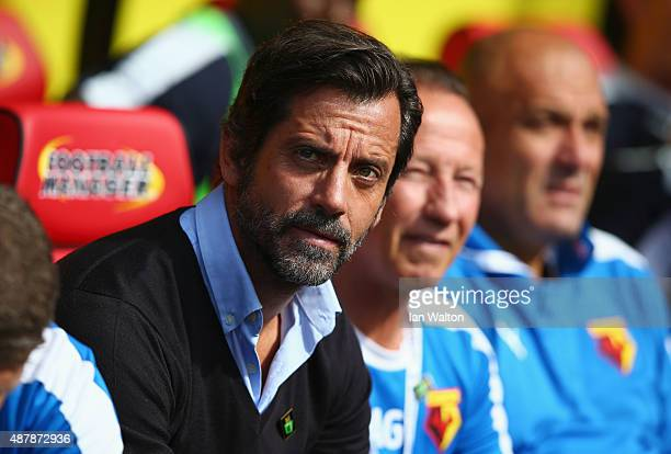 Quique Flores manager of Watford looks on during the Barclays Premier League match between Watford and Swansea City at Vicarage Road on September 12...