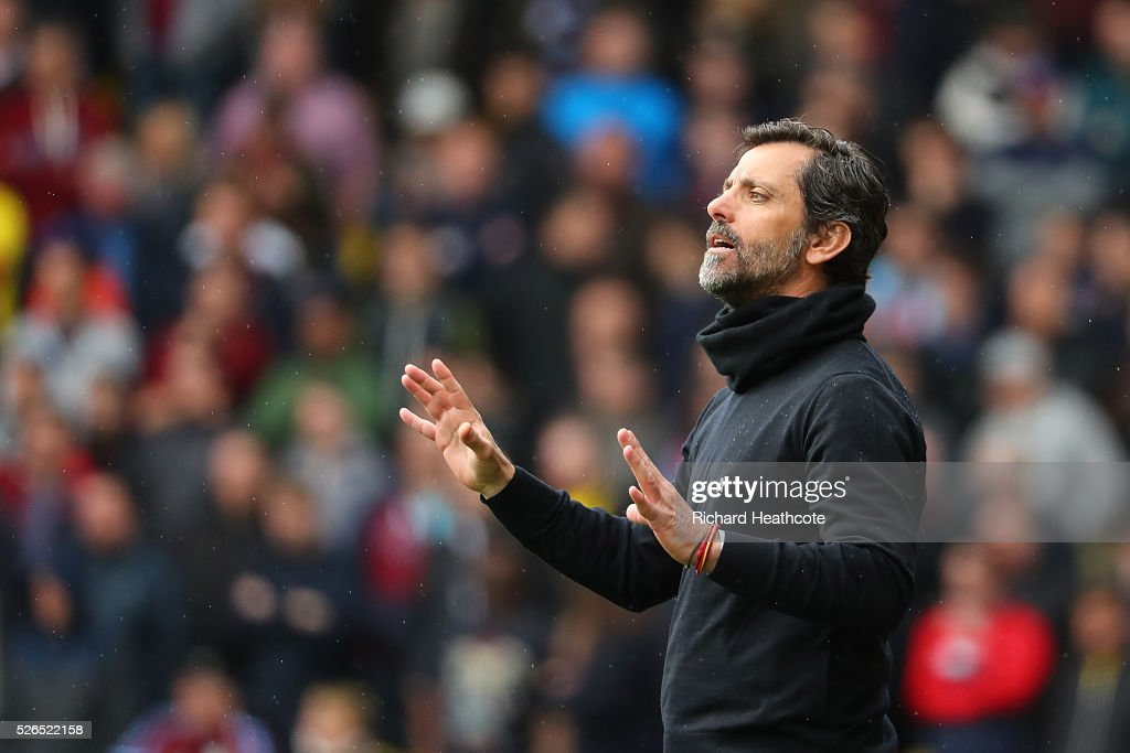 Quique Flores manager of Watford reacts during the Barclays Premier League match between Watford and Aston Villa at Vicarage Road on April 30, 2016 in Watford, England.